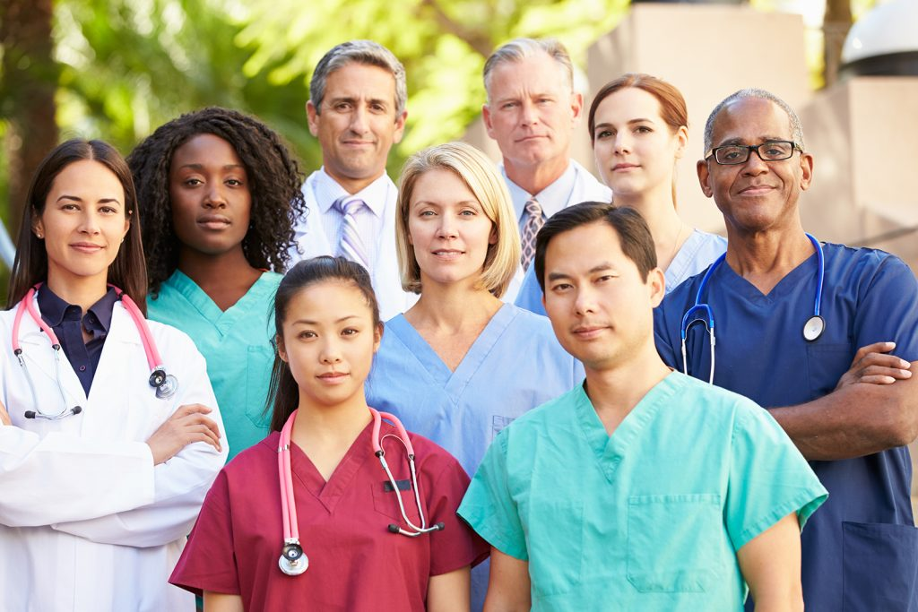 Portrait of 9 medical professionals